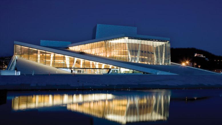 Operaen i Oslo ved kveldstid